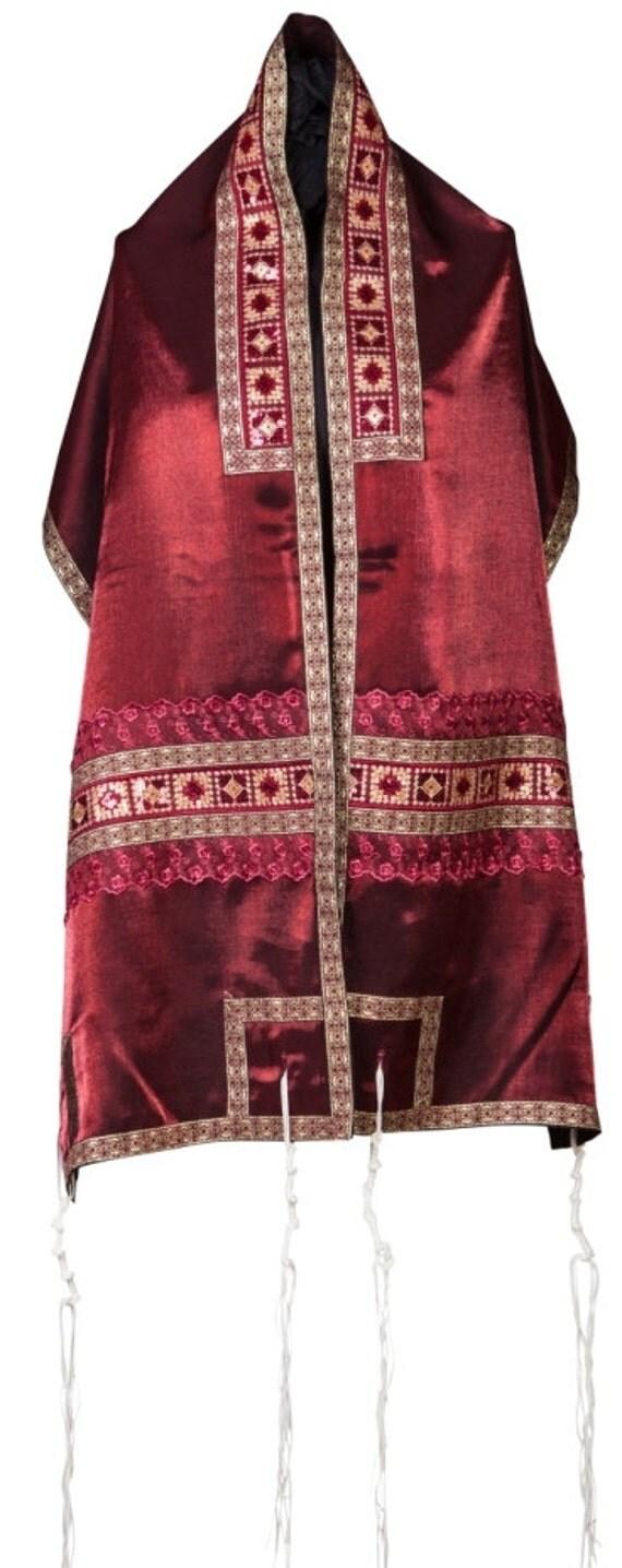 Unique red tallit prayer shawl set tallis bar or bat mitzvah gift