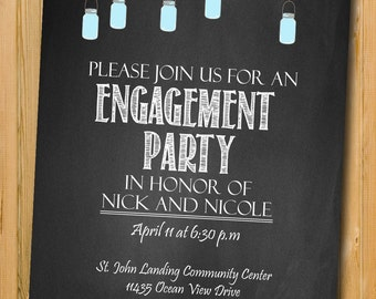 Engagement invitation, Engagement Party invitation, custom chalkboard invite, Printable invitation