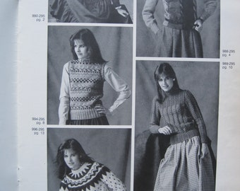 Knit Pattern Book - Bernat #295 - 5 Projects to create - Size Small, Medium, Large, XLarge - Vintage 1982