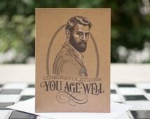 Congratulations, you age well - Dapper Gentleman Birthday Card - 5 x 7