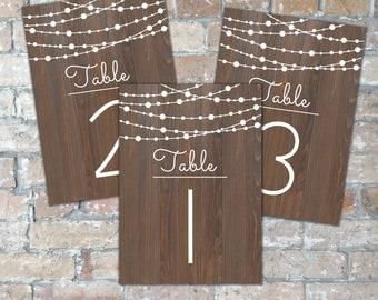 Rustic String Light Wedding Table Numbers {Digital Download}