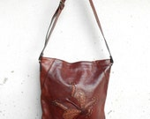RESERVED Vintage Leather Bag Chesnut Brown Leather Crossbody , Leather Shoulder Bag , Leather Tote // Medium // Made in Italy / Gift for Her