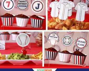 Baseball Party - Baseball Birthday - Baseball Cupcake Topper - Baseball Decorations - Baseball Cupcake Wrapper (Instant Download)