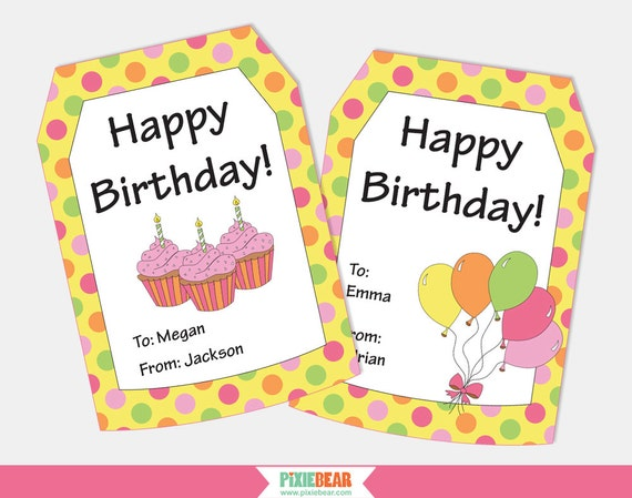 Soft image inside free printable birthday tags