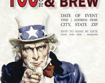 Uncle Sam Wants You Fourth of July Invitation Digital