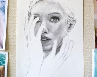 "Original Charcoal Drawing - Female Portrait ""Gloves"""