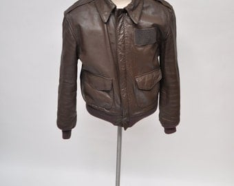 vintage leather jacket A-2 BOMBER JACKET cooper pilot made in usa size 40 a2 flight