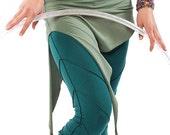 GREEN PIXIE SKIRT organic cotton psy trance skirt psy clothing psy skirt asymmetric skirt pixie clothing fairy skirt