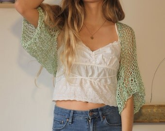 Mint green shrug-soft green loose knit shrug-silky soft crop sweater-formal evening green bolero-ice green ethereal shrug-wedding sweater