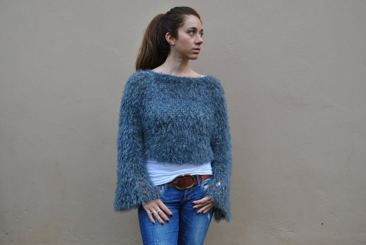 Dark grey faux fur crop knitted sweater hand knit grey blue