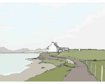 Irish Cottage Facing The Sea County Mayo Republic Of Ireland Rural View