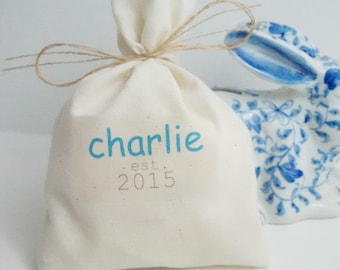 Baby Shower Favor Bags, Muslin Bag, Personalized Boy Name Established Year, Fabric Bag, 5 x 8,