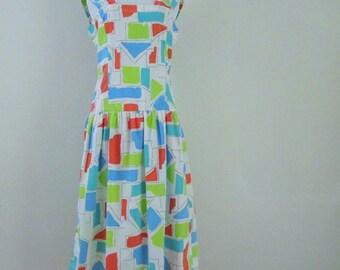 Vintage 80s Prince David Colorful Cotton Geometric Dress Mid Length