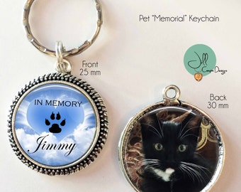 PET MEMORIAL keychain -  Custom Photo Keychain, Pet Memorial Key chain, Pet Photo Keychain, Double sided with Pet Name, Pet Keepsake, Cat