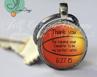 Gift for Father of the Bride, Personalized BASKETBALL keychain, wedding date - father of the bride gift - Father of the Bride - Basketball