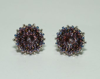Beadwoven Swarovski Crystal Stud Earrings
