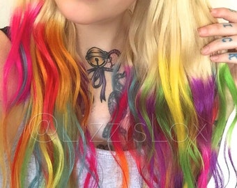 "Gorgeous Clip In REMY Human Hair Extensions 20"" Blonde to Rainbow Unicorn Hair Ombre Dip Dye Balayage Satisfaction Guarantee!"