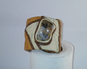 Ostich Leather and Agate Stone Cuff Bracelet