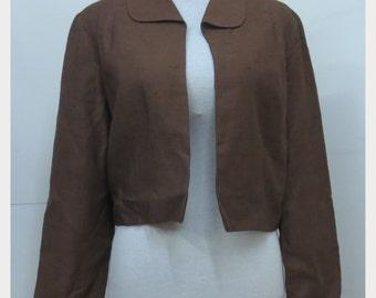 "DESIGNER 1950's ""Marjon Couture"" Cropped Box Jacket Bolero - Mad Men - VLV  - M"