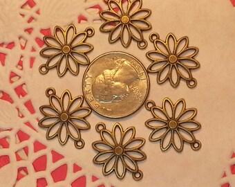 25x20mm Antique Bronze Daisy, Sunflower, Flower Connector/Pendants/Charms - 6 pieces