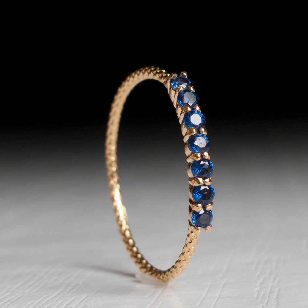 Half Eternity Ring Sapphire Ring Blue Stone Gold Ring