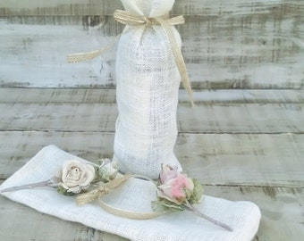 Wine Bags - Burlap Wine Bags - Wine Bottle bags - Wine Bottle Cosy - Ivory Burlap wine bag Set of 6 - Wedding wine bag - burlap gift bag