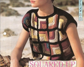 """Crochet pattern - Woman's """"Squarred Up"""" sweater jumper top - Instant download"""