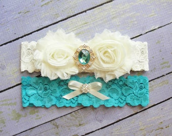 Aqua Wedding Garter, Garter Set, Bridal Garter, Keepsake Garter, Toss Garter, Mermaid Garter, Ivory Garter, Wedding Garter Belt