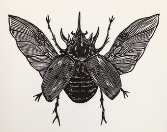 Rhinoceros Beetle Limited Edition Letterpress Print
