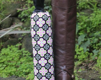 Pair of Boot Form Boot Trees - Knee High Pink, Green and Black Fleur de Lys with Cedar Fill