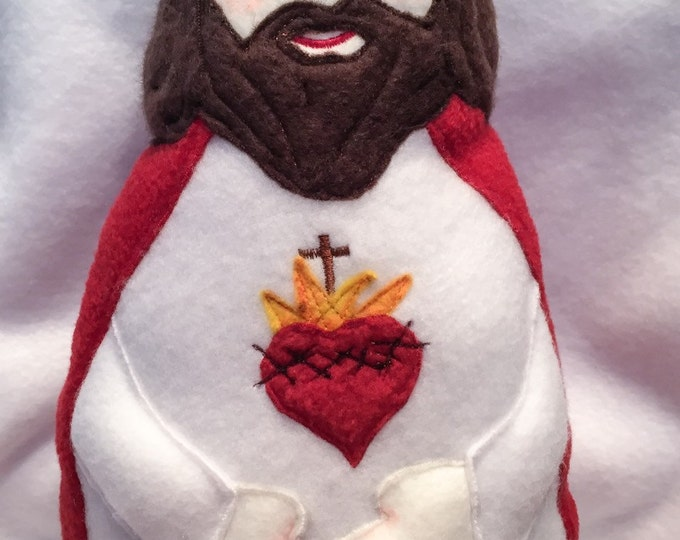 Sacred Heart of Jesus Handmade Soft Saint Doll, Jesus Doll,  Soft and Perfect for little ones to Snuggle with.