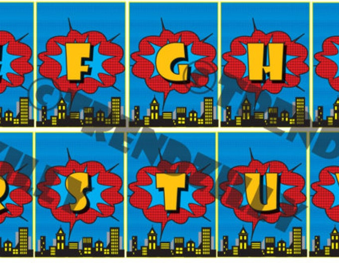 Superhero Birthday Banner Alphabet Add-On, Personalized Banner, Comic Book Banner, City Scape, Printable Instant download.