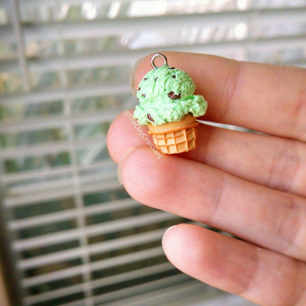 Mint Chocolate Chip Ice Cream Cone Polymer By TheClayCroissant