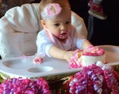 CUSTOMIZABLE Shabby Chic Pink or White Peony Rosette Birthday Party Headband or Clip w/ Gold or Silver Glitter Number