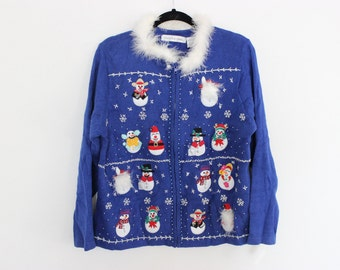 Ugly Christmas Sweater with 14 SNOWMEN & DETACHABLE COLLAR  L 416