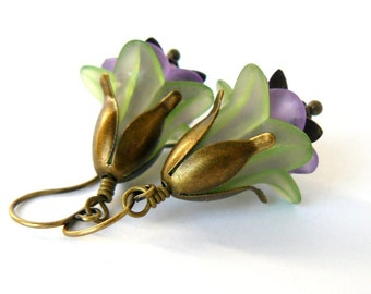 Green and Lavender Lucite Flower Earrings Purple Floral Dangles Woodland Fairytale Inspired Jewelry Bridesmaid Earrings