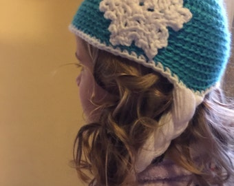 Snow Queen Elsa Hat/Frozen Princess Hat/Childrens Accessories/Elsa Crochet Hat/Holidays/Girls Hats/Christmas Gifts/Gifts For Her/Costumes