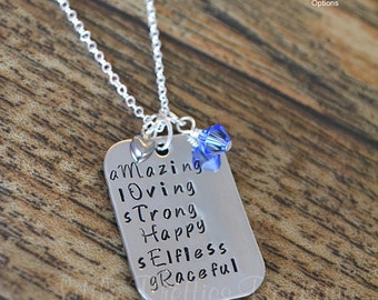 MOTHER Acronym Necklace, Hand Stamped, Mom Necklace, Mother's Necklace, Personalized, Mother's Day gift