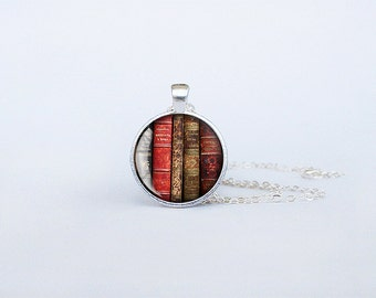 Book necklace Books pendant Antique librarian gift bookworm jewelry teacher's gift reading addict birthday gift keyring keychain cs152