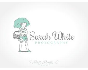 OOAK Logo Design (Premade) Vintage logo, Hand drawn logo, Child Logo, Photography Logo, Boutique logo, Umbrella logo, Whimsical logo