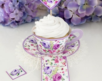 Shabby Chic Cupcake Wrappers Printable Cupcake Wrappers, Purple Teacup Wrappers, Sc-001P,Tea Cups, Birthday Cupcakes
