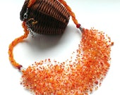 Air Necklace-Seed Bead Necklace-Beaded Air Necklace-Orange Necklace-Air Beadwork-Orange Multicolor Seed Bead Air Necklace