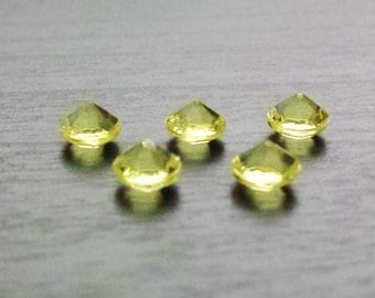 Set of 5 Yellow Crystal Floating Charms for Floating Lockets-Pastel Yellow-Acrylic-Gift Idea