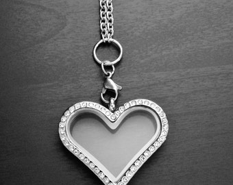 Silver Heart Floating Locket-Crystal Face-Stainless Steel-Option to Add Chain-Gift Idea