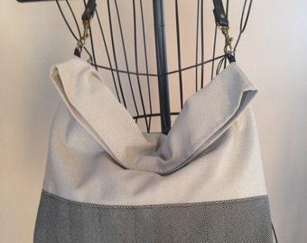 Black and Beige Slouch Shoulder Tote Bag
