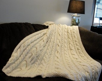 Hand Knit Cable Throw/ Blanket/ Afghan,  Irish Knit - Ivory