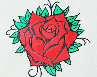 Red Rose faux stained glass window cling suncatcher mirror decal refrigerator decal
