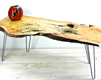 "Live Edge Flaming Box Elder Coffee Table with Vintage Industrial Hairpin Legs ""Madelyn"""