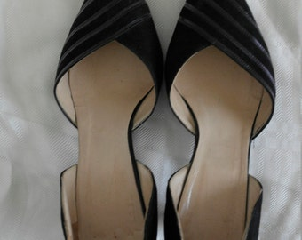 80's black suede pumps made in Italy size 38