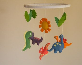 SALE 20% Dinosaur Mobile, Nursery Crib Mobile, Felt dinosaur baby mobile, Baby mobile, Your Own Colours
